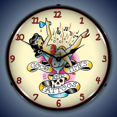 Tattoo Parlors Chicago on Good Times And Tattoos Girl Lighted Wall Clock   Tattoogirl