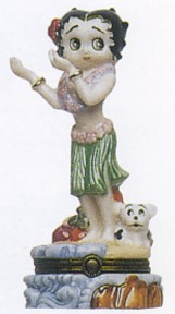 Betty Boop Hula Dancer Porcelain Clasp Box