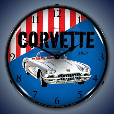 1958 Corvette Lighted Wall Clock