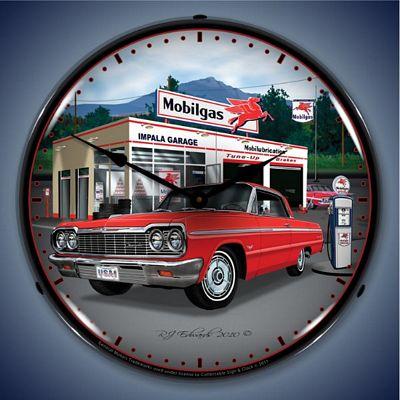1964 Impala Mobilgas Garage Lighted Wall Clock - 1964IMPALAGARAGE