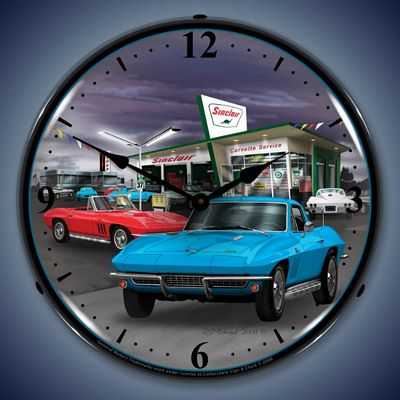 1966 Sinclair Corvette Lighted Wall Clock