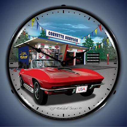 1967 Corvette Speed Shop Lighted Wall Clock
