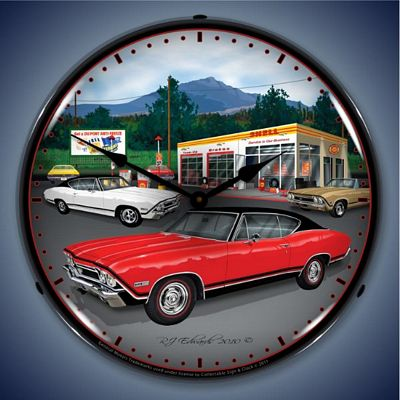 1968 Chevelle Shell Gasoline Lighted Wall Clock