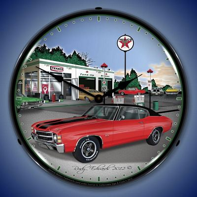 1971 Chevelle Texaco Lighted Wall Clock