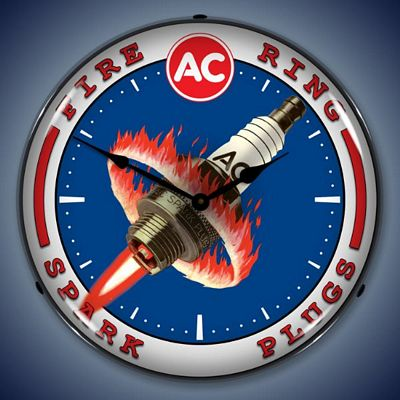 AC Spark Plug Lighted Wall Clock