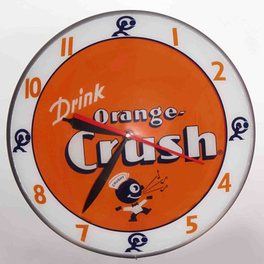 Orange Crush Double Bubble Retro Style Clock By American Retro