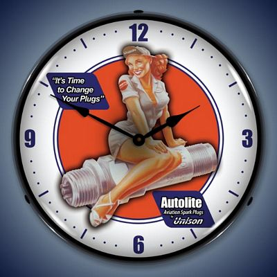 Autolite Aviation Sparkplugs Lighted Wall Clock