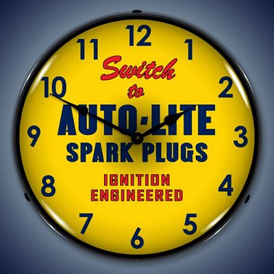Auto-Lite Spark Plugs Lighted Wall Clock