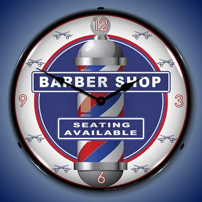Barber Shop Clock Lighted Wall Clock