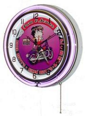 Betty Boop Biker Double Neon Wall Clock