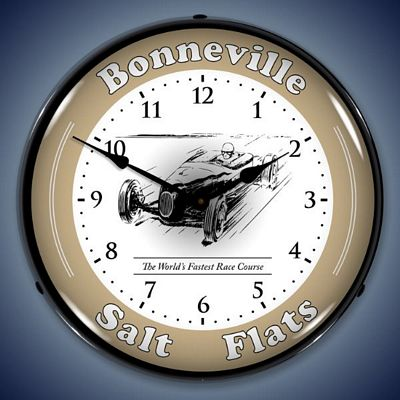 Bonneville Salt Flats Race Track Lighted Wall Clock