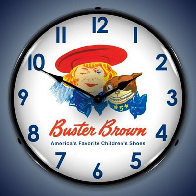 Buster Brown Shoes Lighted Wall Clock