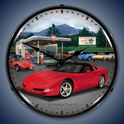 C5 Corvette Gulf Gasoline Lighted Wall Clock