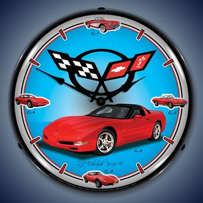 C5 Corvette History Lighted Wall Clock