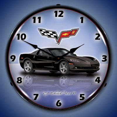 C6 Corvette Black Lighted Wall Clock