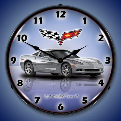 C6 Corvette Blade Silver Lighted Wall Clock
