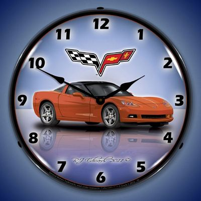 C6 Corvette Inferno Orange Lighted Wall Clock
