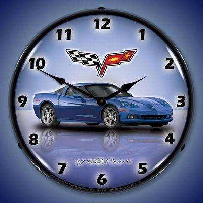 C6 Corvette Jet Stream Blue Lighted Wall Clock