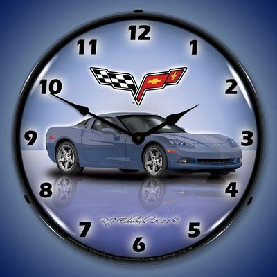 C6 Corvette Supersonic Blue Lighted Wall Clock