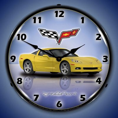 C6 Corvette Velocity Yellow Lighted Wall Clock