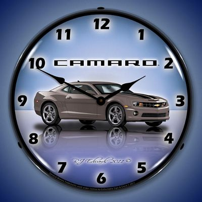 Camaro G5 Cyber Grey Lighted Wall Clock