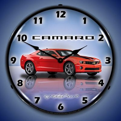 Camaro G5 Victory Red Lighted Wall Clock