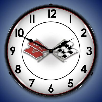 Corvette Flags Lighted Wall Clock