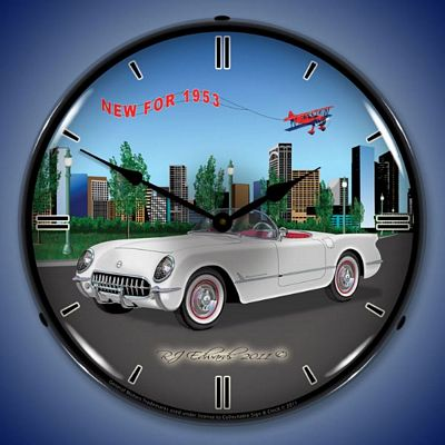 Corvette New For 1953 Lighted Wall Clock