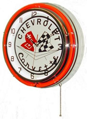 Chevrolet Corvette Flags Double Neon Wall Clock