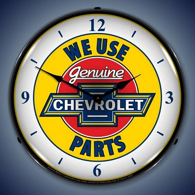 Chevrolet Genuine Parts With Numbers On Face Lighted Wall Clock