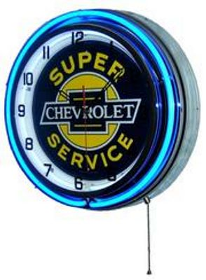 Chevrolet Service Double Neon Wall Clock