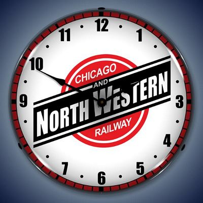 Chicago And North Western Railway Lighted Wall Clock