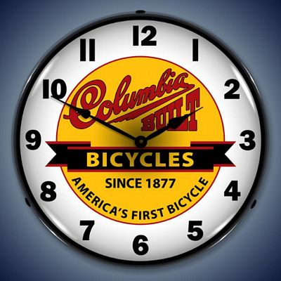 Columbia Built Bicycles Lighted Wall Clock