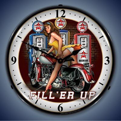 Fill'er Up Lighted Wall Clock