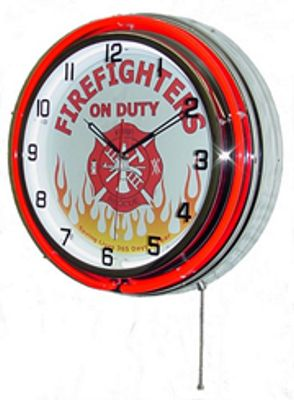 Firefighters On Duty Double Neon Wall Clock
