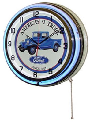 Ford Americas Truck Double Neon Wall Clock