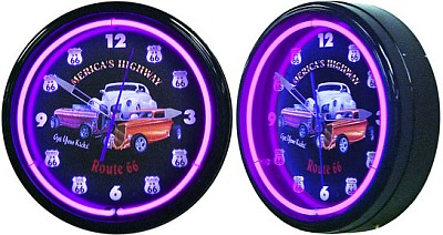 Get Your Kicks On Route 66 Neon Wall Clock