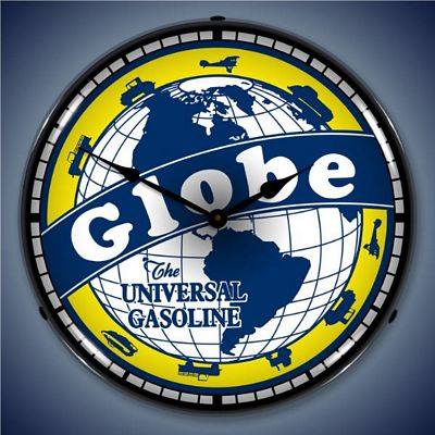 Globe Gasoline Lighted Wall Clock