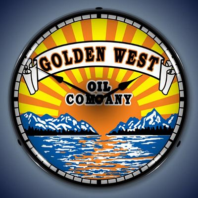 Golden West Gasoline Lighted Wall Clock