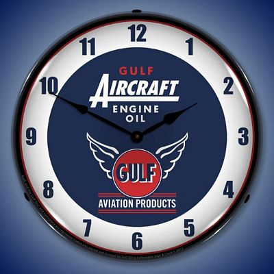 Gulf Aircraft Engine Oil Lighted Wall Clock