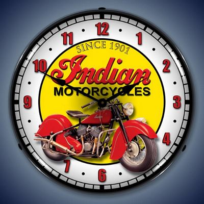 Indian Motorcycle Lighted Wall Clock