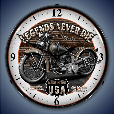 Legends Never Die Motorcycle Lighted Wall Clock