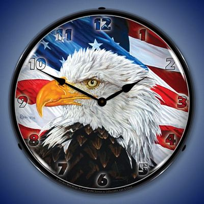 Let Freedom Ring Eagle By Jon Ren Lighted Wall Clock