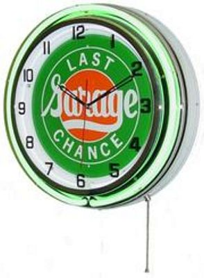 Last Chance Garage Double Neon Wall Clock