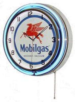 Mobil Gas Double Neon Wall Clock