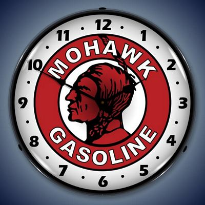 Mohawk Gasoline Lighted Wall Clock