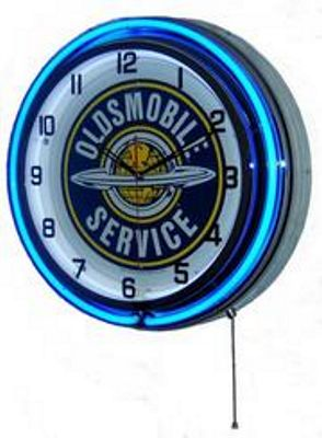 Oldsmobile Service Double Neon Wall Clock