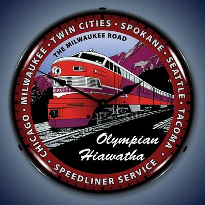 Olympian Hiawatha Train Lighted Wall Clock