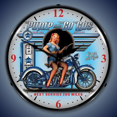 Pump And Go Gas Lighted Wall Clock
