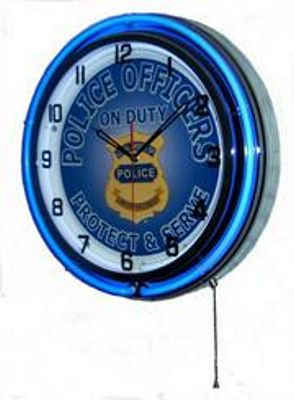Police Officers On Duty Double Neon Wall Clock
